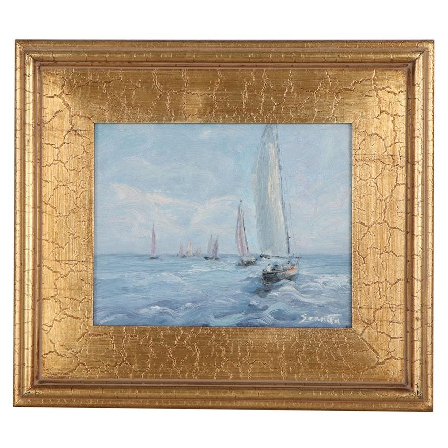 Sean Wu Oil Painting of Sailboats at Sea, 2021