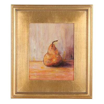 """Sanna Still Life Acrylic Painting """"Sweet Pear,"""" 2021"""