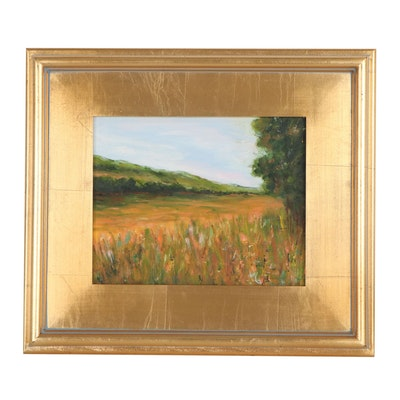 "Sanna Landscape Oil Painting ""Fall Field,"" 2019"
