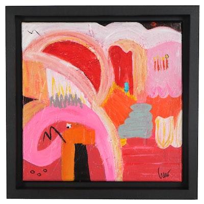 "Susan Crew Abstract Acrylic Painting ""Journeys 4,"" 21st Century"