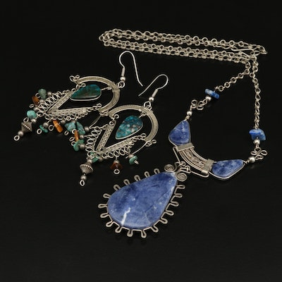 Jewelry Selection Including Sodalite, Tiger's Eye and Additional Gemstones