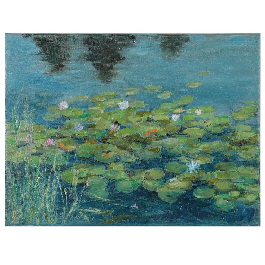 "Garncarek Aleksander Oil Painting ""Lilie Wodne,"" 2021"