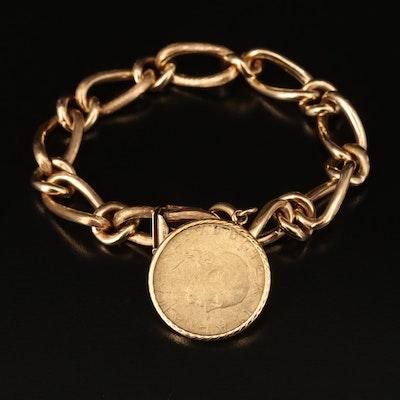 14K Bracelet with 1985 Italian 200 Lire Coin Charm