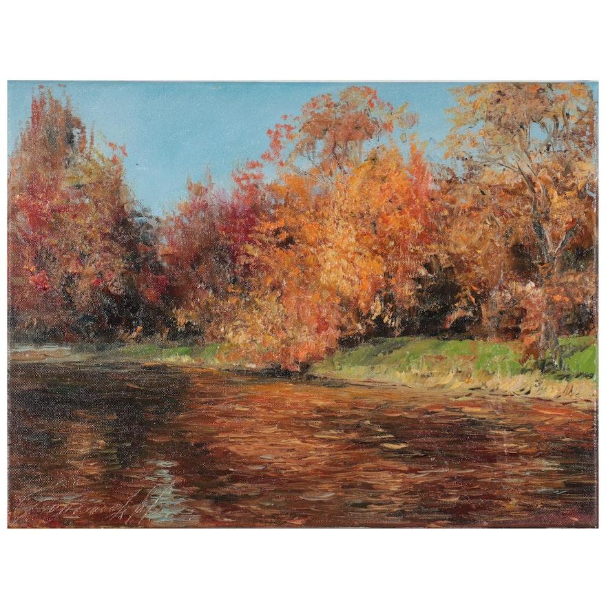 "Garncarek Aleksander Oil Painting ""Nad Wodą,"" 2021"
