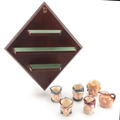 Royal Doulton Miniature Porcelain Character Jugs with Display Shelf