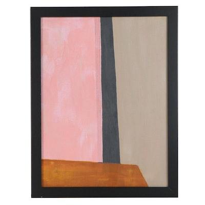 "Sanna Abstract Acrylic Painting ""Pink Earth,"" 2020"