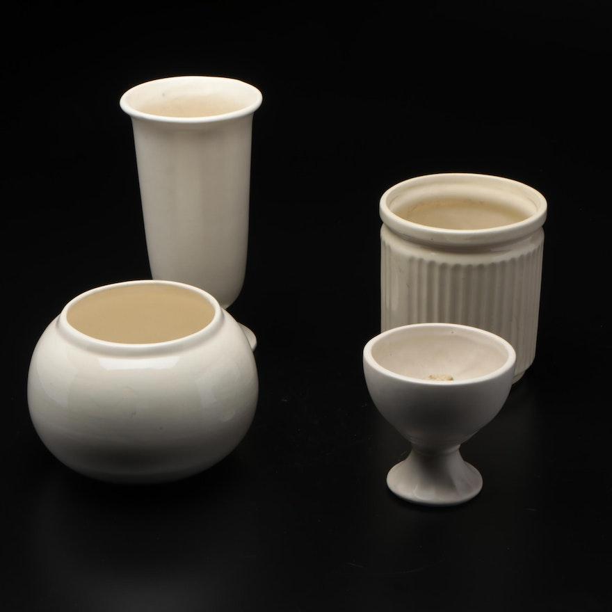 White-Glazed Ceramic Vases and Bowls