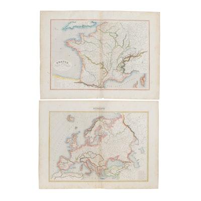 "C.V. Monin Hand-Colored Map Engravings ""Europe"" and ""France, Suisse et Belgique"""