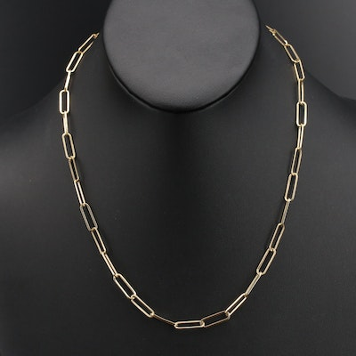 14K Elongated Cable Link Necklace