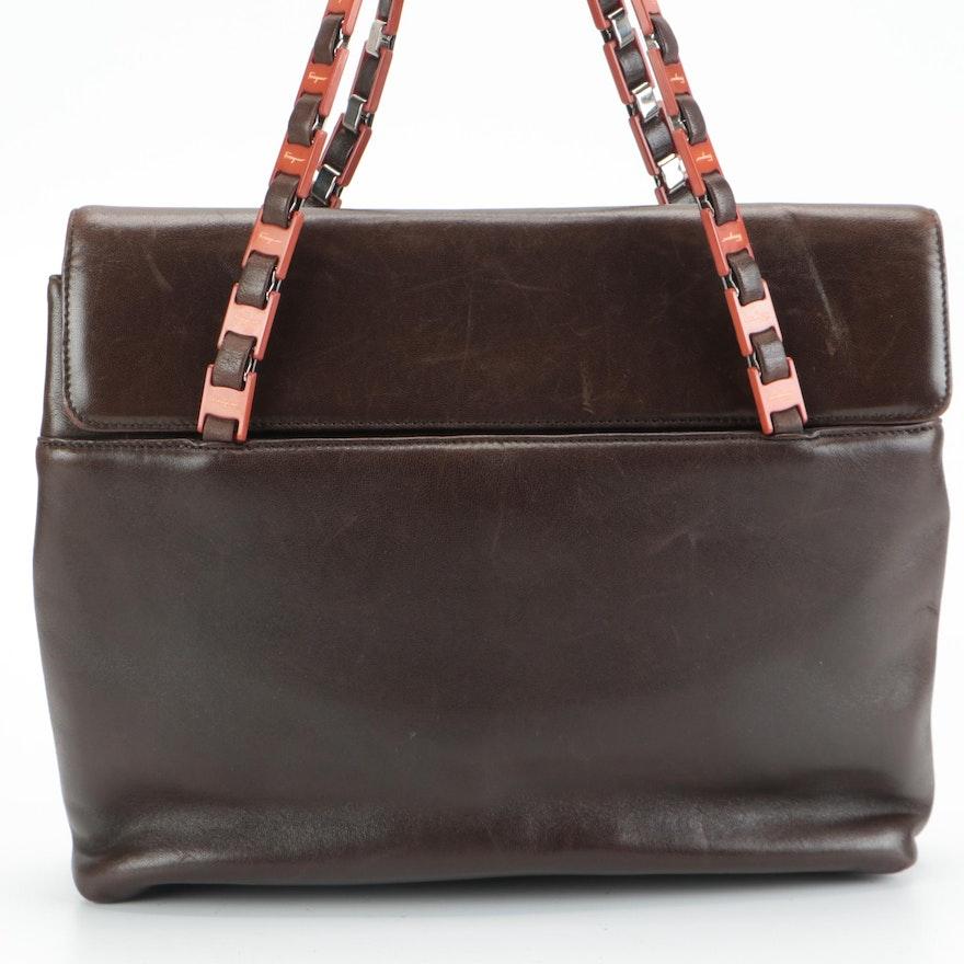 Salvatore Ferragamo Dark Brown Leather Chain Strap Shoulder Bag