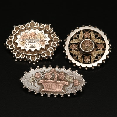 Victorian Aesthetic Period Sterling Brooches Featuring William C. Manton