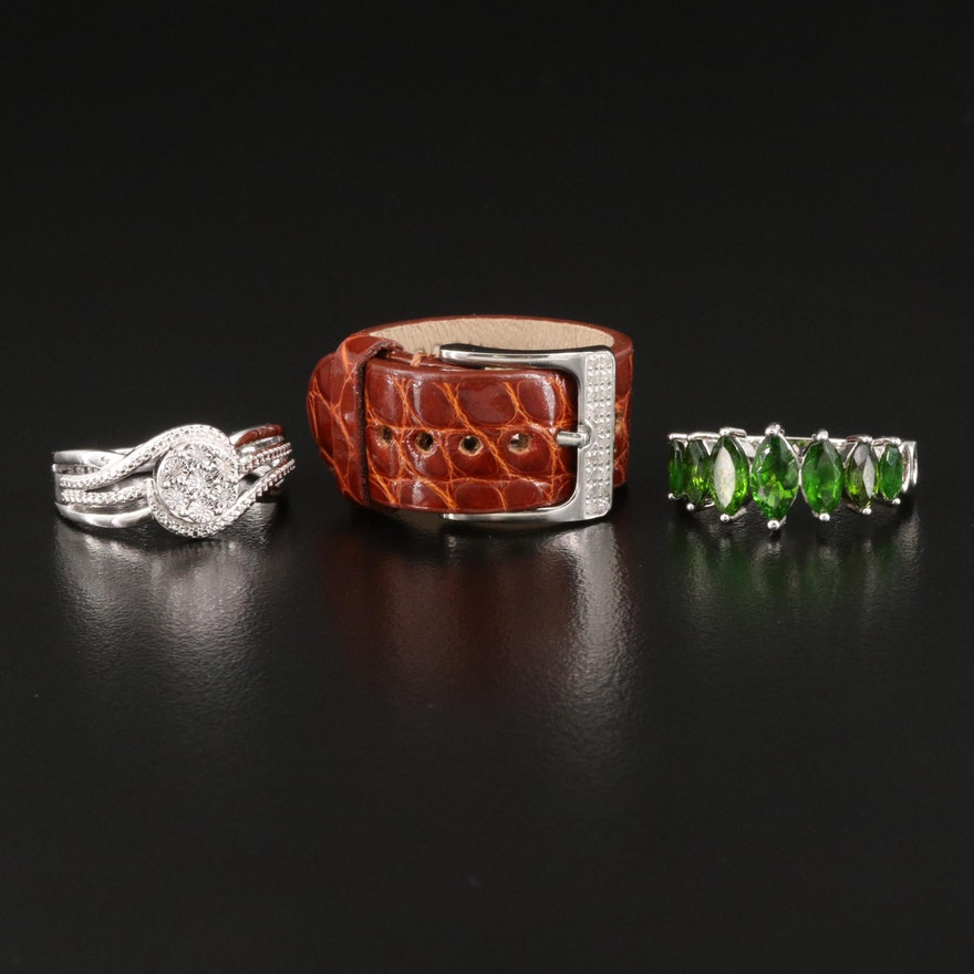 Rings Featuring Leather Buckle Ring and Diopside and Diamonds