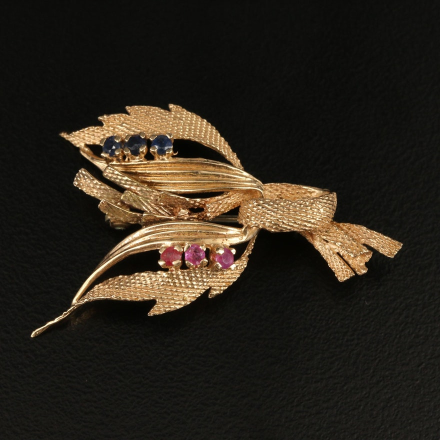 Vintage 14K Sapphire and Ruby Foliate Brooch