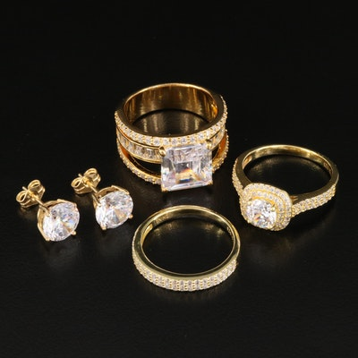 Sterling Silver Cubic Zirconia Ring Set with Earrings