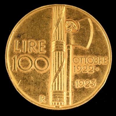 1923 Italian 100-Lire Commemorative Gold Coin