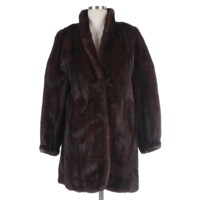 Brown Mink Fur Stroller Coat with Tapered Cuffs from Douglas Furs