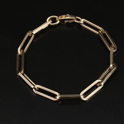 Italian 14K Elongated Cable Link Bracelet