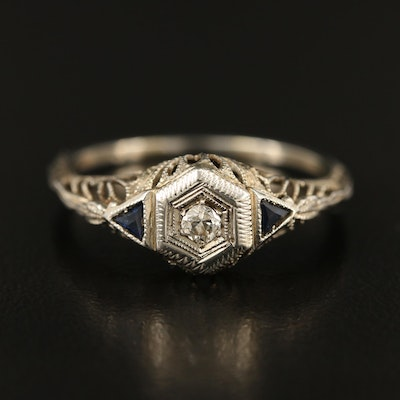Early Art Deco 18K Diamond and Sapphire Ring