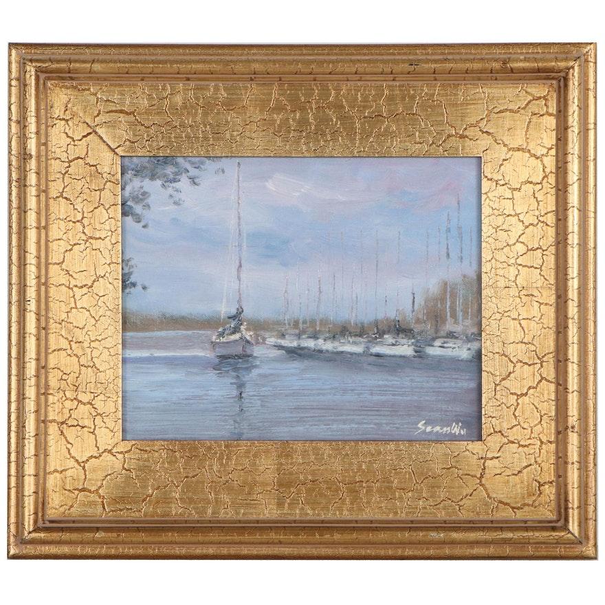 Sean Wu Oil Painting of Sailboat, 2021