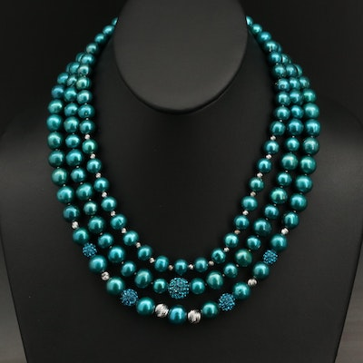 Sterling Pearl and Rhinestone Triple Strand Necklace
