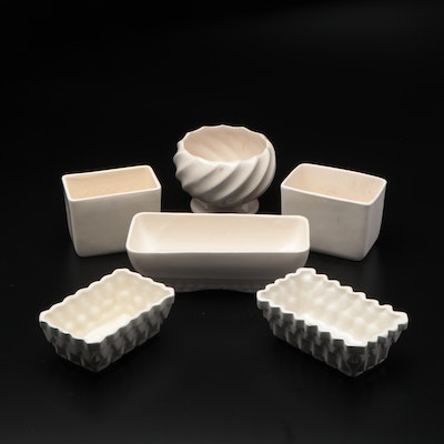 McCoy, Upco and Other White Ceramic Planters, Mid to Late 20th Century