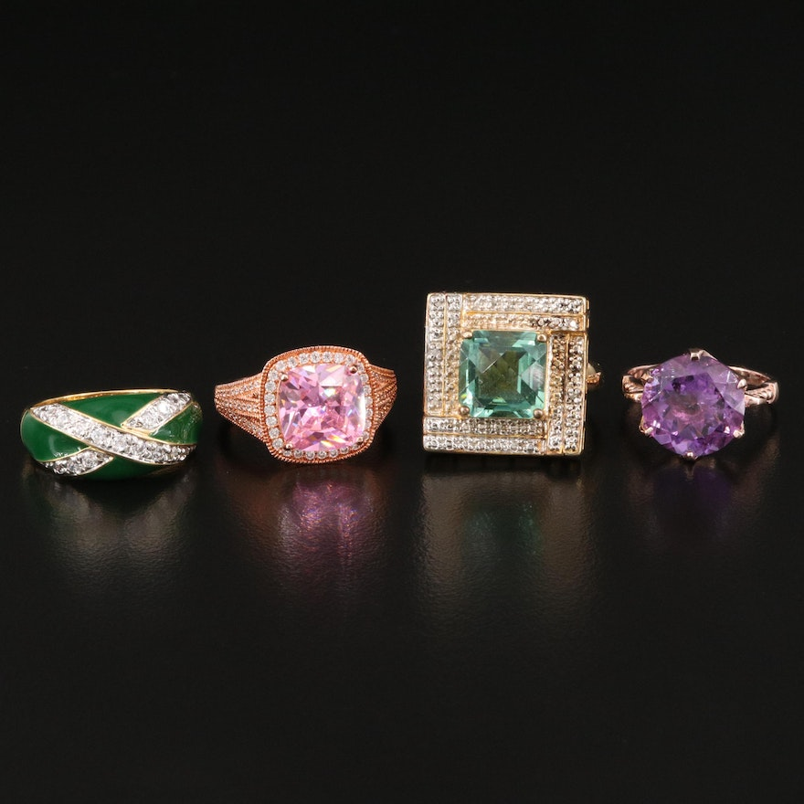 Sterling Silver Ring Selection Featuring Amethyst, Topaz and Cubic Zirconia