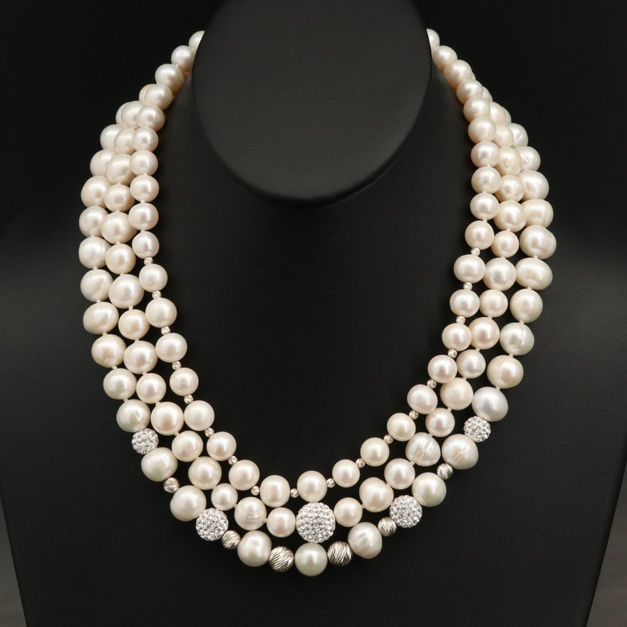 Sterling Graduated Pearl and Rhinestone Triple Strand Necklace