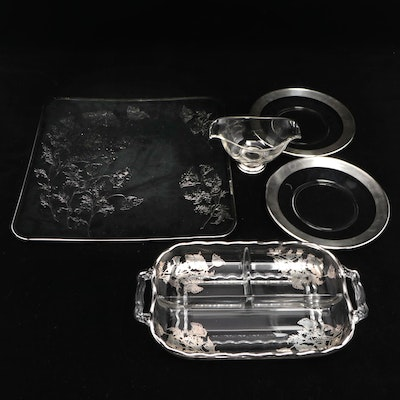 Glass with Silver Overlay Divided Dish and Other Tableware, Mid-20th Century