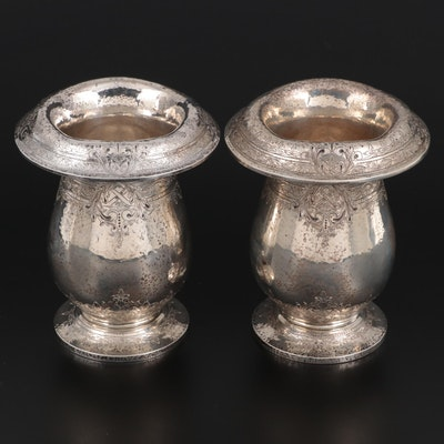 Lebkuecher & Co. Chased Sterling Silver Foldover Rim Vases, circa 1900