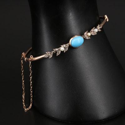 Victorian 14K Turquoise, Diamond and Gemstone Foliate Hinged Bangle