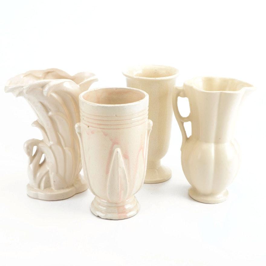 McCoy and Others White Glazed Ceramic Vases, Mid-20th Century