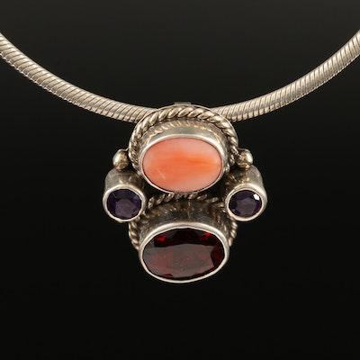 Juan Willie Navajo Diné Coral, Amethyst and Garnet Pendant Necklace