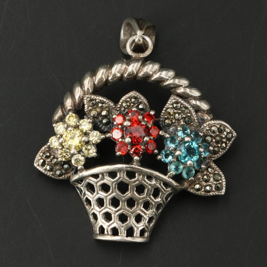 Vintage Sterling Marcasite and Cubic Zirconia Flower Basket Converter Brooch