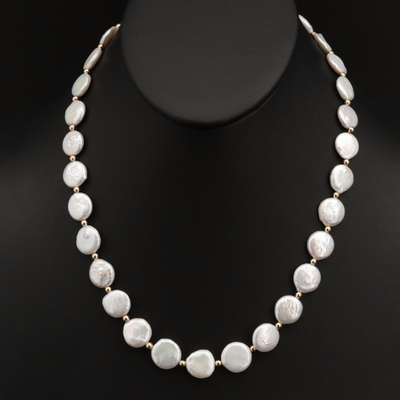 Strand of Coin Pearls with 14K Spacer Beads and Clasp