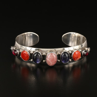 Sterling Rhodocrosite, Iolite, Spiny Oyster Cuff