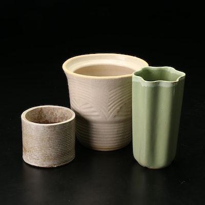 Art Deco Style And Modern Glazed Ceramic Planters, Mid-20th Century