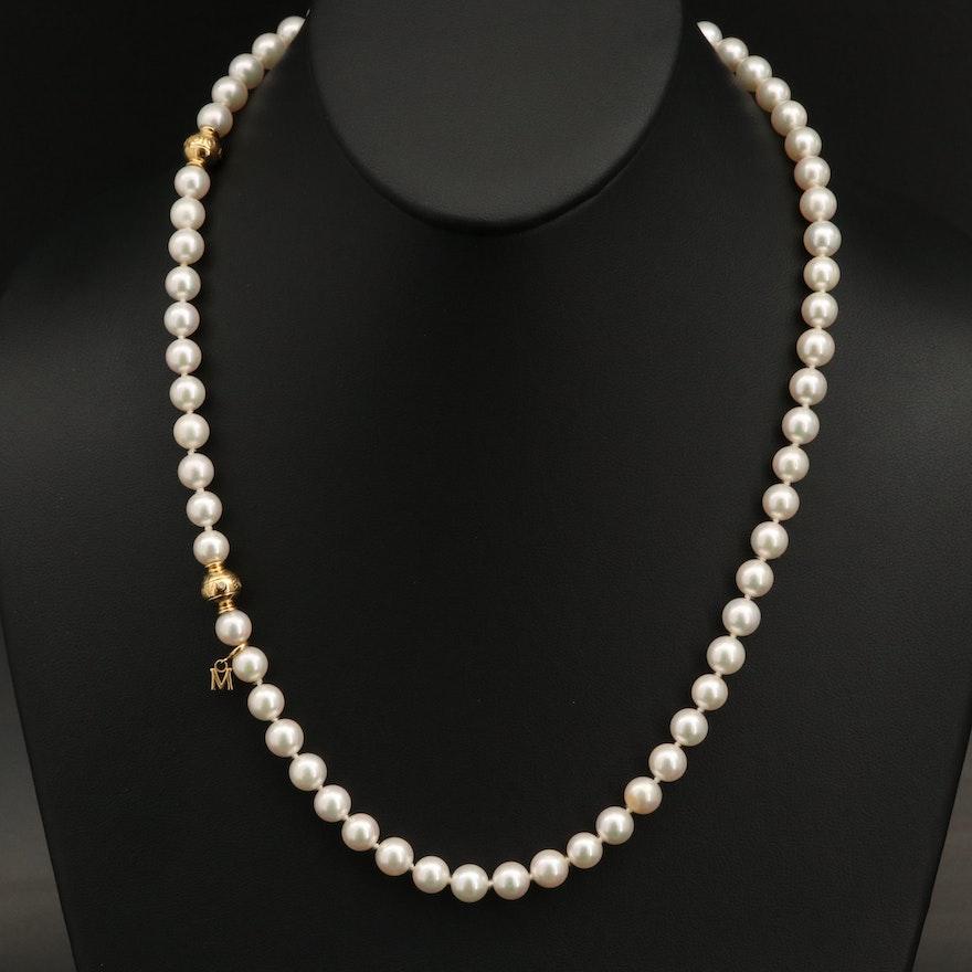 Mikimoto 18K Pearl and Diamond Necklace