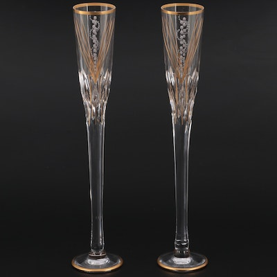 Royal Brierley Tall Crystal Champagne Flutes