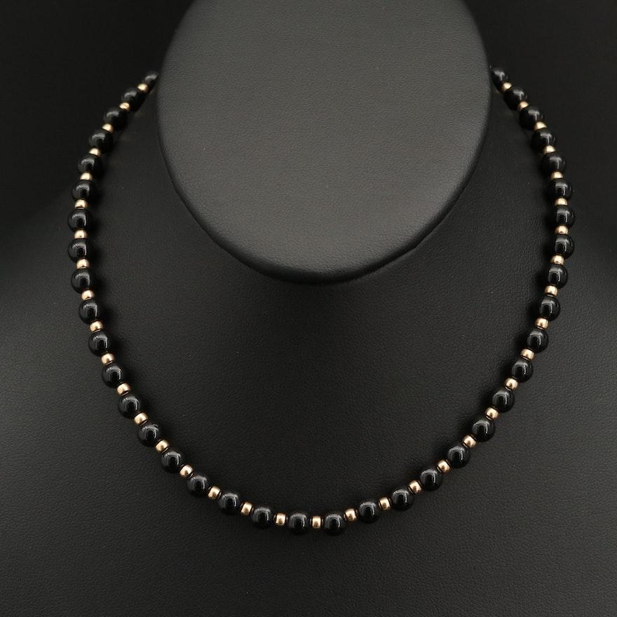 14K Black Onyx Bead Necklace