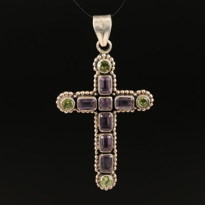 Nicky Butler Sterling Silver Amethyst and Peridot Cross Pendant