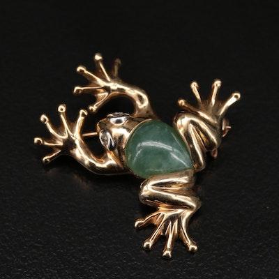 10K Jadeite and Diamond Frog Brooch