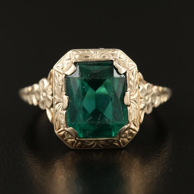 Circa 1930 14K Faceted Glass Ring
