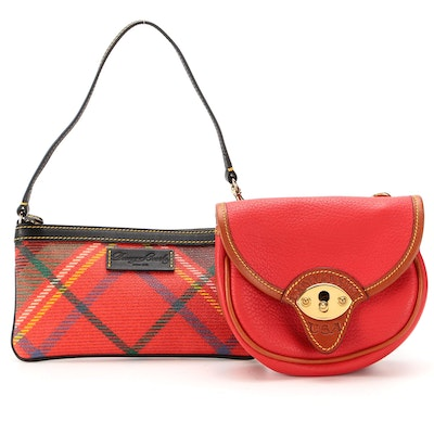 Dooney & Bourke Red Leather Crossbody and Plaid Coated Canvas Zip Pouch