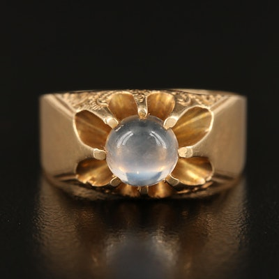 Antique 14K Moonstone Solitaire Chased Belcher Ring Circa 1900