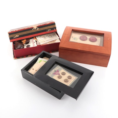 Buttons in Two Wooden Display Boxes and Cardboard Box