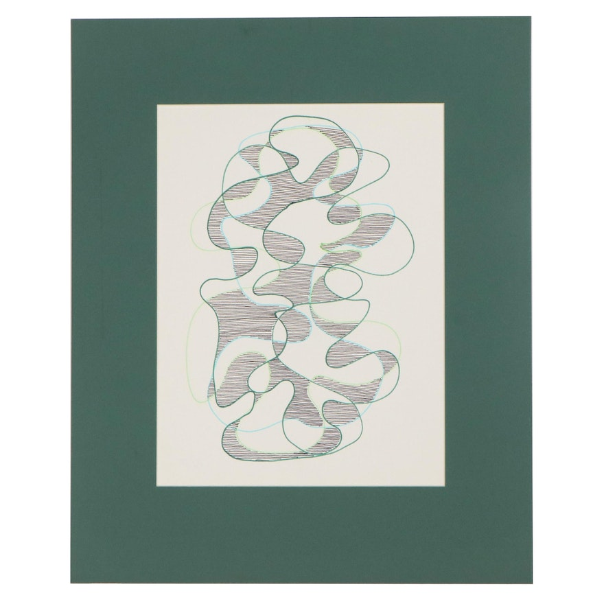 W. Glen Davis Abstract Ink Drawing, Late 20th Century