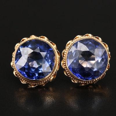 14K Scalloped Fame Sapphire Earrings