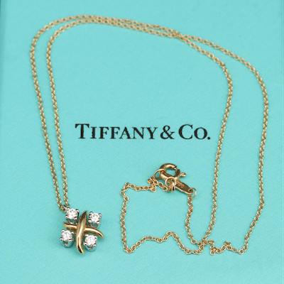 Schlumberger for Tiffany & Co Platinum Diamond Pendant on 18K Chain