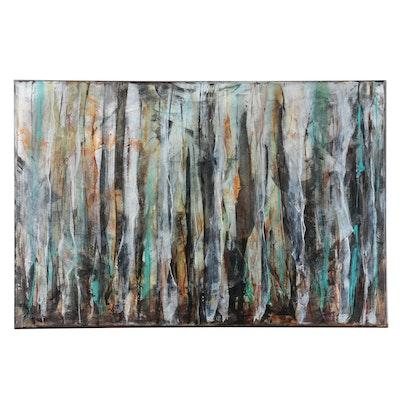 "Sanna Abstract Acrylic Painting ""Breaking Through,"" 2020"
