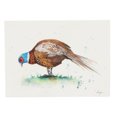 """Anne """"Angor"""" Gorywine Watercolor Painting of Pheasant, 2021"""